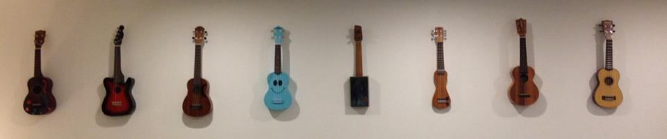 ukuleles on the wall