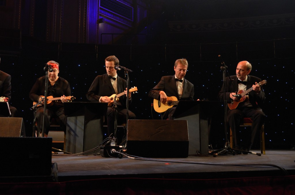 'Noodly' Nick Browning, playing at the Royal Albert Hall with the Ukulele Orchestra of Great Britain