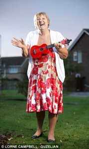 Dorothy Rogan with her ukulele